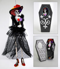 "Katherine's Collection Frida Love Halloween Collection Two 13""  Skeleton Ornaments In Coffin Boxes Free Ship-IN STOCK"