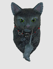 "Katherine's Collection Dead And Breakfast Halloween Collection 12"" Black Cat With Dead Mouse Door Knocker Free Ship"