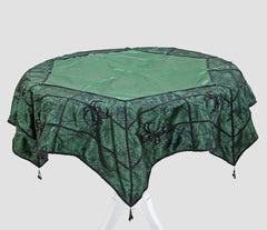 "Katherine's Collection Spellbound Halloween Collection 54"" Emerald Green Spider Web Table Overlay Free Ship"