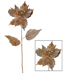 "Katherine's Collection Royal White Christmas Collection Tweleve 26"" Encrusted Gold Poinsettia Stems Free Ship"