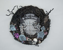 "Katherine's Collection Forest Cemetery Collection 24""D ""Enter If You Dare"" Wreath Free Ship"