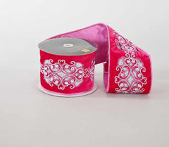 "Katherine's Collection Fifi Goes To Paris Christmas Collection Two 4"" x 5 Yds Fifi Filigree Velvet Ribbon Rolls Free Ship"