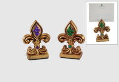 "Katherine's Collection 2018 Mardi Gras Collection Set 12 Assort 4"" Fleur De Lis Place Card Holders Free Ship"