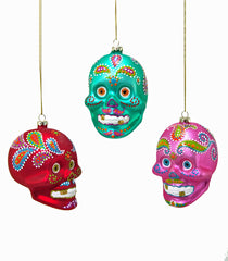 "Katherine's Collection Frida Love Halloween Collection Twelve 4.5"" Folklore Glass Skull Ornaments Free Ship"