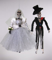 "Katherine's Collection Frida Love Halloween Collection Four 9"" Bride And Groom Euro Fairy Ornaments  Free Ship"