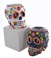 "Katherine's Collection Frida Love Halloween Collection Set Two Assorted 7"" Skull Vases Free Ship"