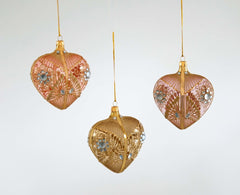 "Katherine's Collection Secret Garden Collection Six 4"" Garden Heart Bauble Ornaments Free Ship"