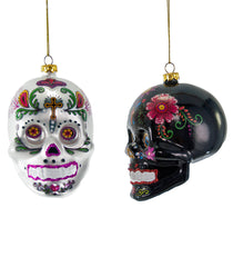 "Katherine's Collection Frida Love Halloween Collection Twelve Assort 4"" Glass Painted Skull Ornaments Free Ship"