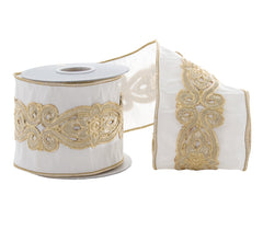 "Katherine's Collection Royal White Christmas Collection Four 4"" x 5 yds Gold Cut Out Dupion Ribbon Rolls Free Ship"