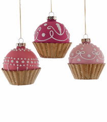 "Katherine's Collection Happily Ever After Christmas Collection Twelve Assorted 4"" Glass Cupcake Ornaments Free Ship"