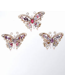 "Katherine's Collection Happily Ever After Christmas Collection Six Assorted 5.5"" Jeweled Butterfly Ornaments Free ship"