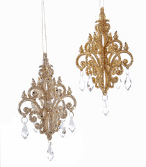 "Katherine's Collection Happily Ever After Christmas Collection Twenty-Four Assorted 6"" Mini Gold Chandelier Ornaments Free Ship"