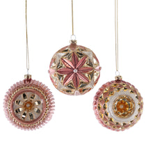 Katherine's Collection Happily Ever After Christmas Collection Twelve Assorted 80 mm Pink Sculpted Glass Ball Ornaments Free Ship