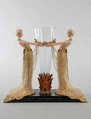 "Katherine's Collection Holiday Cheer Christmas Collection 13"" Art Deco Ladies With Vase Free Ship"