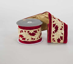 "Katherine's Collection Holiday Cheer Christmas Collection Two 2.5"" x 5 Yds Red Velvet  Cut Out Leaf Ribbon Rolls Free Ship"