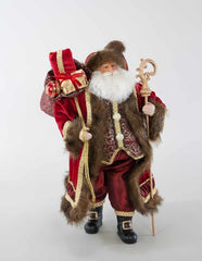 "Katherine's Collection Holiday Cheer Christmas Collection 18"" Holiday Santa With Bag And Staff Free Ship"