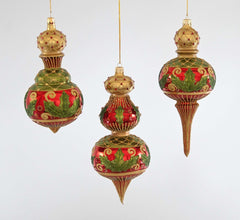 "Katherine's Collection Tartan Traditions Collection Three Assort 9"" Holly Scroll Glass Cupola Ornaments Free Ship"