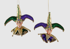 "Katherine's Collection 2018 Mardi Gras Collection Set Four Assort 9 x 9"" Jester Head Ornaments Free Ship"
