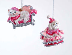 "Katherine's Collection Fifi Goes To Paris Christmas Collection Twelve Assort 4"" Lounging French Dog Ornaments Free Ship"