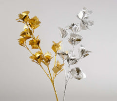"Katherine's Collection The Gilded Seasons Collection Thirty-Six Assort 22"" Metallic Shell Leaf Stems Free Ship"