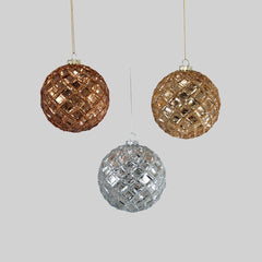 "Katherine's Collection The Gilded Seasons Collection Twelve Assort 4"" Metallic Stained Glass Ball Ornaments Free Ship"