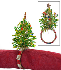 "Katherine's Collection Noel Christmas Collection Set Twelve 5"" Beaded Tree Napkin Rings Free Ship"