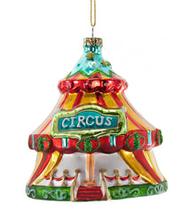 "Katherine's Collection Noel Christmas Collection Six Assorted 4"" Noel Circus Tent Glass Ornaments Free Ship"