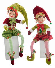 "Katherine's Collection Noel Christmas Collection  Two Assorted 27"" Noel Poseable Christmas Elves Free Ship"