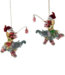 "Katherine's Collection Noel Christmas Collection Eight Assorted 6.5"" Noel Flying Elephant With Santa Ornaments Free Ship"