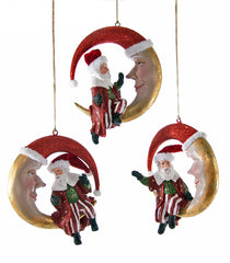 "Katherine's Collection Noel Christmas Collection Six Assorted 6"" Santa On The Moon Ornaments Free Ship"
