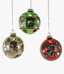 Katherine's Collection Noel Christmas Collection Set Twelve Approx 90mm Retro Decal Glass Christmas Ornaments Free Ship