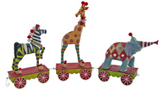 "Katherine's Collection Noel Christmas Collection 14"" Zebra, Elephant And Giraffe Dolls On Train Cars Free Ship"