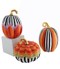 "Katherine's Collection Tricky Treats Halloween Collection Set Three  8, 9 & 11"" Patterned Pumpkin Set Free Ship"