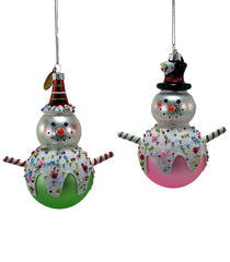 "Katherine's Collection Pirouette Spring Collection Set Twelve Assort  5"" Pirouette Candy Glass Snowmen Ornaments Free Ship"