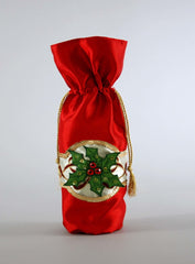 "Katherine's Collection Tartan Traditions Collection Six Assort 4 x 13"" Poinsettia Bottle Bags Free Ship"