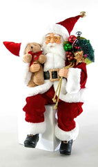 "Katherine's Collection Night Before Christmas Collection Two 18"" Posable Santa With Teddy Bear Dolls Free Ship"