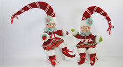 "Katherine's Collection Noel Christmas Collection Set Two Approx 24"" Poseable Peppermint Elf Dolls Free Ship-IN STOCK"