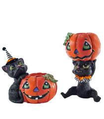 "Katherine's Collection Tricky Treats Halloween Collection Four 2.5"" Pumpkin Cat Candle Holders Free Ship"