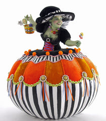 "Katherine's Collection Tricky Treats Halloween Collection 17.25"" Pumpkin Witch Doll Free Ship"