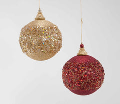 Katherine's Collection Holiday Cheer Christmas Collection Eight Assort 150 MM Red & Gold Encrusted Ball Ornaments Free Ship
