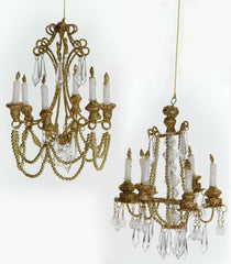 "Katherine's Collection Royal White Christmas Collection Twelve 6"" Royal Gold Glittered Chandelier Ornaments Free Ship"