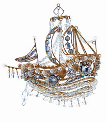 "Katherine's Collection Royal White Christmas Collection Set Four 6"" Jeweled Ship Ornaments Free Ship"