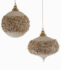 Katherine's Collection Royal White Christmas Collection Eight Assorted Large 150 mm Royal Glittered Ornaments Free Ship