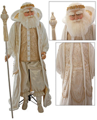 "Katherine's Collection Royal White Christmas Collection Life Size 65"" Royal Santa Claus Display Doll With Stand Free Ship"