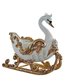"Katherine's Collection Royal White Christmas Collection 22"" Royal White And Gold Swan Sleigh Free Ship"