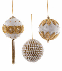 "Katherine's Collection Royal White Christmas Collection Twelve Assorted 3.5"" Royal Zari Embroidered Jeweled Ornaments Free Ship"
