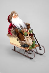 "Katherine's Collection Into The Woods Collection 13"" Santa In Woodland Sleigh Figurine Free ship"