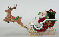 "Katherine's Collection Night Before Christmas Collection 23"" x 15"" Table Top Santa Sleigh And Reindeer Free Ship"