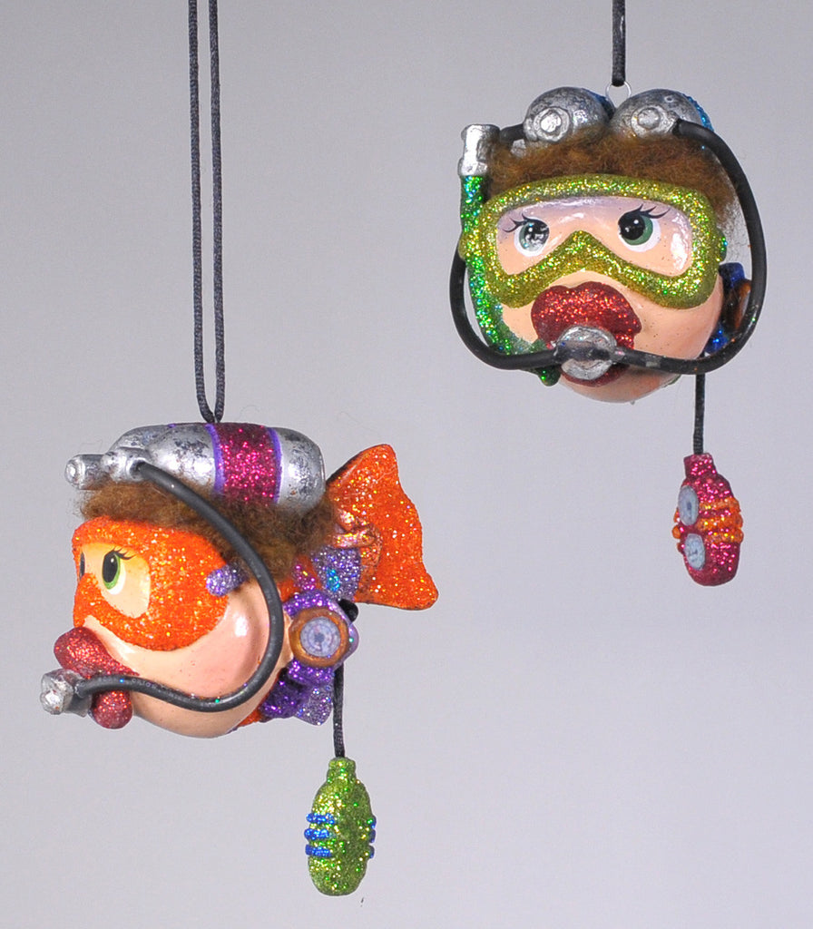 Kissing fish ornament - Katherine S Collection Kissing Fish Christmas Six Assort 4 Scuba Kissing Fish Ornaments