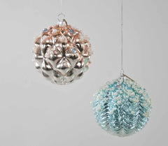"Katherine's Collection Coastal Celebrations Collection Twelve Assort 4"" Shell Ball Glass Ornaments Free Ship"